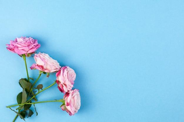 Rosas cor-de-rosa decorativas na superfície azul