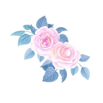 Rosas cor de rosa em aquarela. composição floral em aquarela.