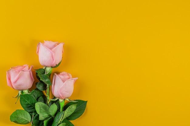 Rosas cor de rosa em fundo amarelo pastel. aniversário, mãe, dia dos namorados, mulheres, conceito de dia do casamento.