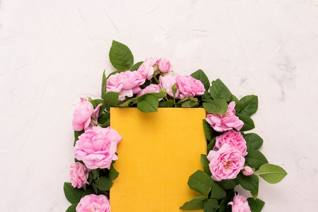 Rosas cor de rosa estão alinhadas em torno de um livro com uma capa amarela