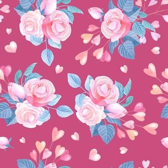 Rosas em aquarela cor de rosa, corações.