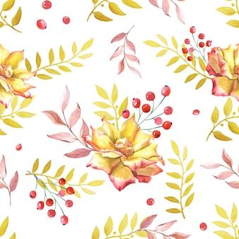 Rosas em aquarela, folhas de ouro e berry. flores amarelas sobre fundo branco. padrão uniforme. ilustração para impressão, têxtil, tecido, papel de embrulho, projetar um site da web.