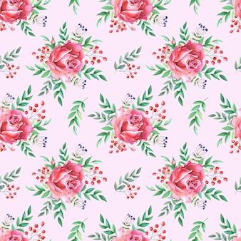 Rosas em aquarela, folhas verdes e frutos silvestres. flores vermelhas em um fundo rosa. padrão uniforme. ilustração para impressão, têxtil, tecido, papel de embrulho, projetar um site da web.