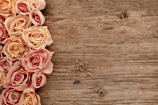 Rosas em fundo de madeira velha