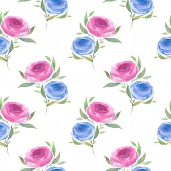 Rosas sem costura padrão aquarela pintados à mão