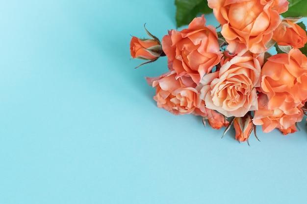 Rosas sobre fundo azul. copie o espaço
