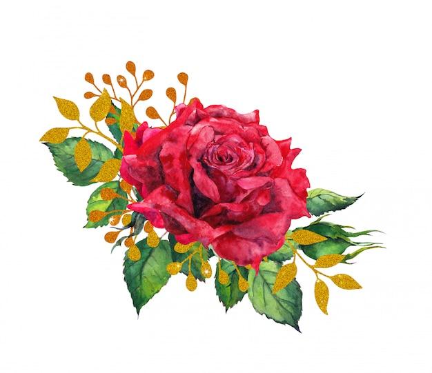Rosas vermelhas com folhas douradas. flor de pintura em aquarela