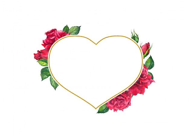Rosas vermelhas com moldura dourada de forma de coração. cartão em aquarela