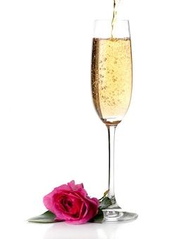 Rose e champanhe vinho isolado no branco