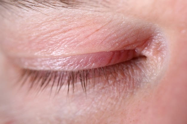 Rosto adulto em detalhes closeup