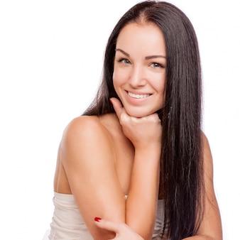 Rosto bonito da bela mulher sorridente