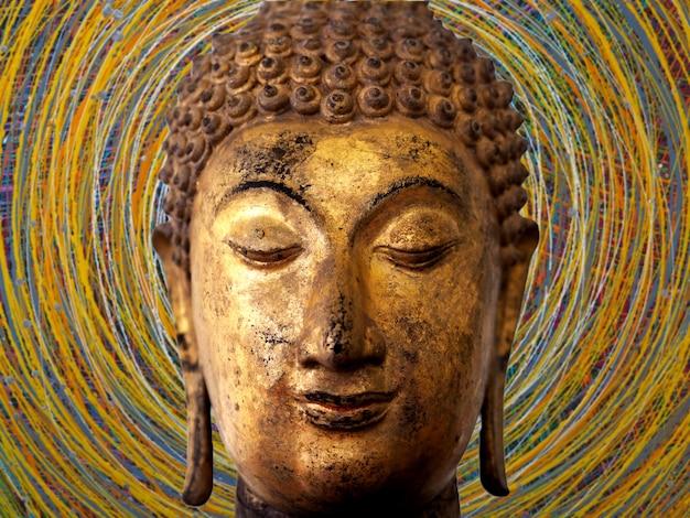 Rosto, de, buddha, abstratos, fundo