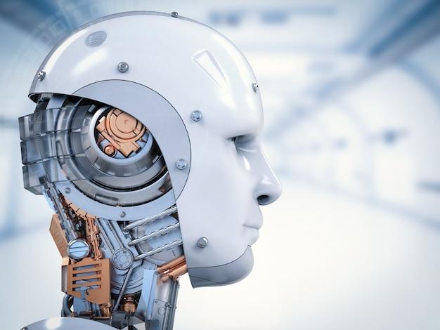 Rosto de ciborgue de renderização 3d com visor virtual nos olhos