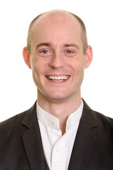 Rosto de empresário caucasiano careca feliz sorrindo