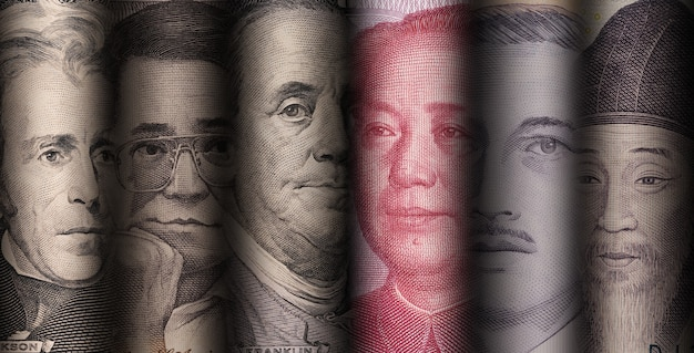 Rosto de líder nacional de cédulas de variedades no mundo como dólar yuan baht won e piso.