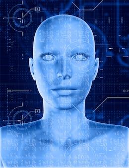 Rosto feminino 3d com overlay de codificação de tecnologia