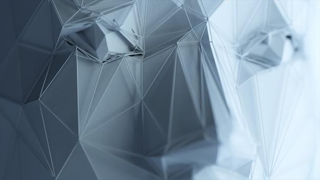 Rosto humano poligonal abstrato, conceito de inteligência artificial. ilustração 3d Foto Premium