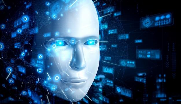 Rosto humanóide de robô close-up com conceito gráfico de análise de big data pelo cérebro pensante de ia