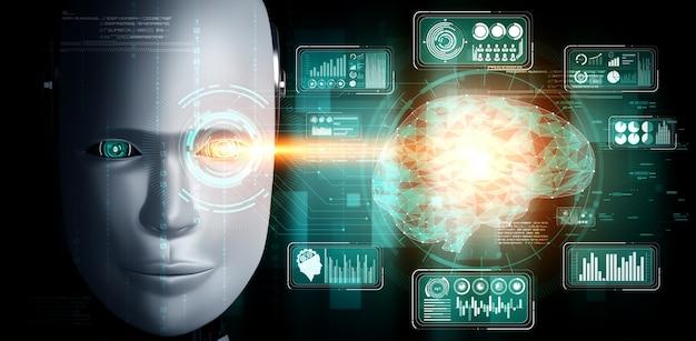 Rosto humanóide de robô de perto com conceito gráfico de análise de big data