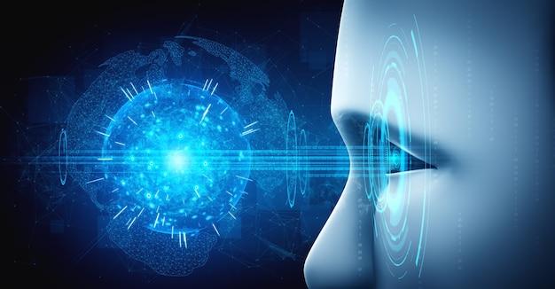 Rosto humanóide de robô de perto com conceito gráfico