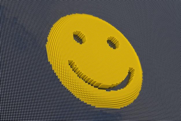 Rosto sorridente do estilo pixel art. renderização 3d