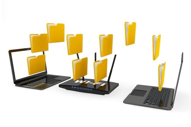 Roteador moderno com dobras e laptops em um fundo branco