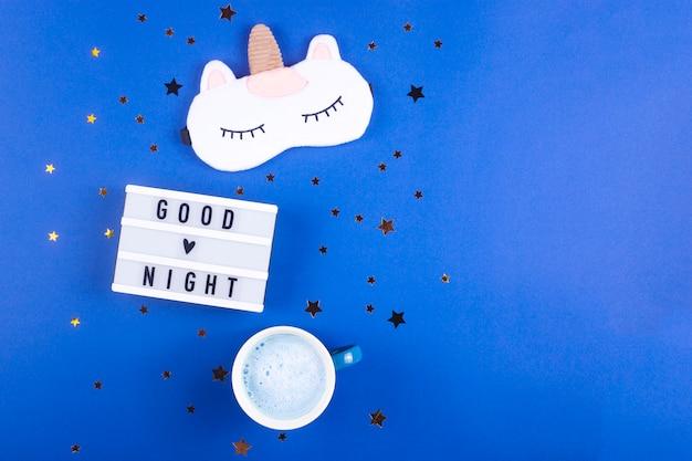 Rotina noturna para um sono saudável em uma tabela bluet.