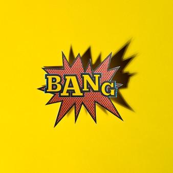 Rotulação bang boom star com sombra no fundo amarelo