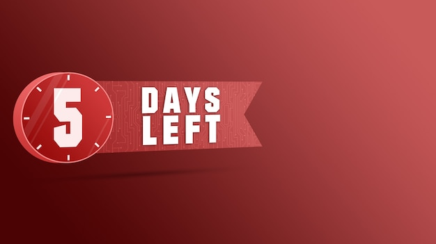 Rótulo de 5 dias restantes, contagem regressiva de números 3d