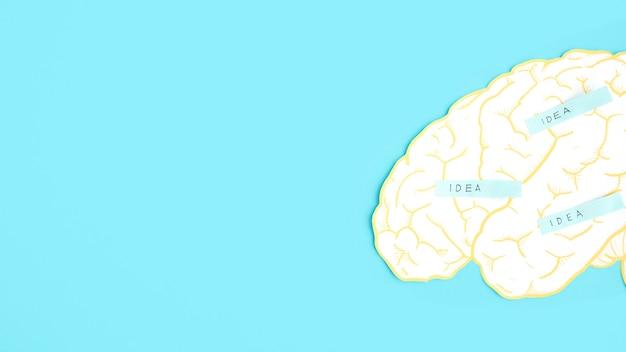 Rótulo de idéia no cérebro de recorte de papel sobre o fundo azul