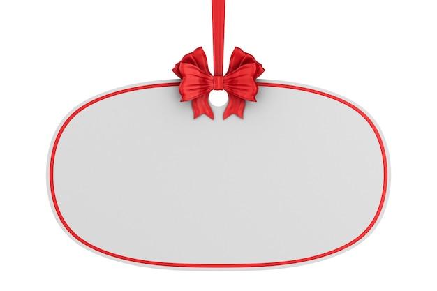 Rótulo de natal com fita vermelha e arco em fundo branco. ilustração 3d isolada