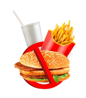 Rótulo de perigo de fast food isolado