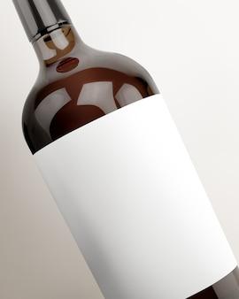 Rótulo em branco, embalagem de bebida em garrafa de vinho e branding