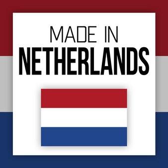 Rótulo feito na holanda, ilustração com bandeira nacional
