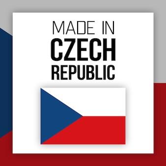 Rótulo feito na república tcheca, ilustração com bandeira nacional
