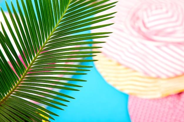 Roupa de verão desfocada. folha de palmeira tropical