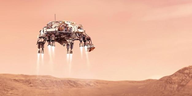 Rover pousando no planeta vermelho marte