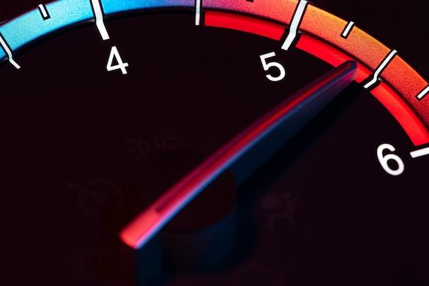 Rpm carro odômetro detalhe símbolo de potência e velocidade