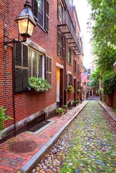 Rua bolota, baliza, colina, cobblestone, boston