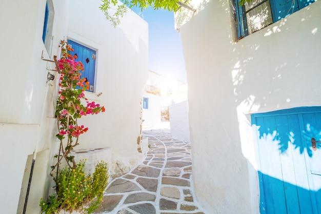 Rua com lindas flores de buganvílias rosa e paredes brancas da casa. rua grega colorida em lefkes, ilha de paros