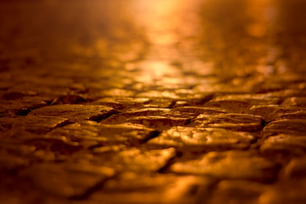 Rua de paralelepípedos em close-up de noite