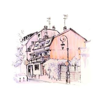 Rua de paris com casas tradicionais e lanternas, paris, frança. marcadores feitos de imagem