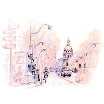 Rua de paris e les invalides na manhã de inverno, paris, frança. marcadores feitos de imagem