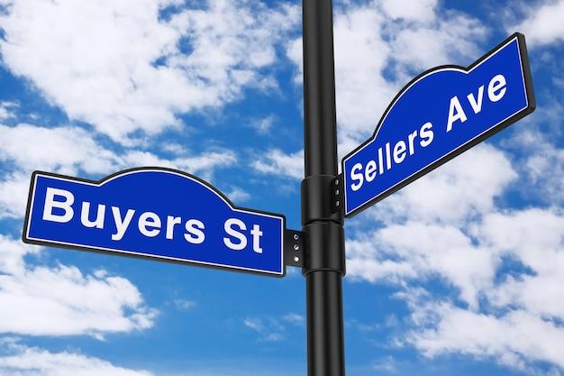 Rua dos compradores e sinais de rua da avenida dos vendedores em um fundo de céu azul. renderização 3d