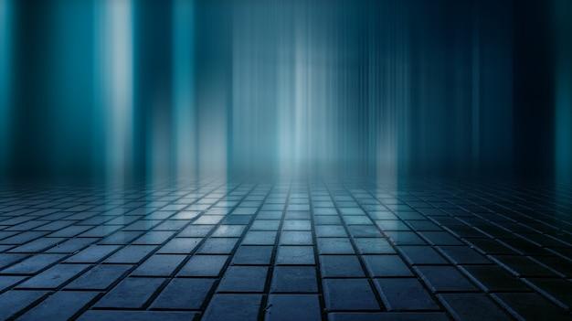 Rua escura asfalto molhado reflexos de raios na água resumo fundo azul escuro fumaça fumaça cena escura vazia holofotes de luz de néon
