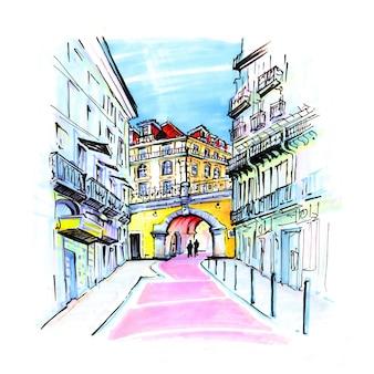 Rua rosa em lisboa, portugal
