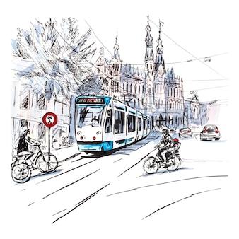 Rua típica de amsterdã, holanda, holanda.