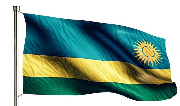 Ruanda national flag isolated 3d fundo branco