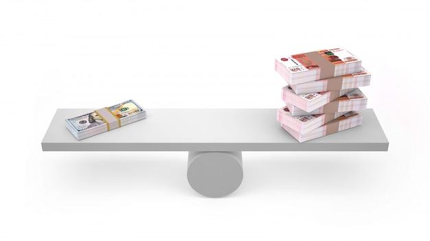 Rublo e dólar em equilibrado isolado