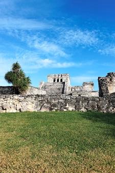 Ruínas arqueológicas famosas de tulum, no méxico, no verão